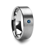MAVI Men's Brushed Finish Flat Tungsten Wedding Band with Blue Diamond - 6mm & 8mm