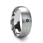 MELANTHIOS Men's Domed Brushed Tungsten Wedding Ring with Blue Diamond Center - 6mm & 8mm