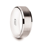 ANTARES White Tungsten Brushed Center Men's Wedding Ring with Polished Beveled Edges & White Interior - 8mm