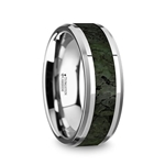TYRION Men's Tungsten Wedding Band with Dark Green Dinosaur Bone Inlay & Beveled Edges - 8mm