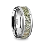 TARGARYEN Men's Tungsten Wedding Band with Green Dinosaur Bone Inlay & Beveled Edges - 8mm