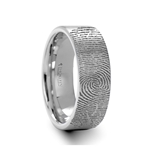Fingerprint Engraved Flat Pipe Cut Tungsten Ring Brushed Ring - 4mm - 12mm
