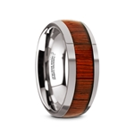 MUKWA Tungsten Carbide Polished Finish Men's Domed Wedding Band with Padauk Wood Inlay - 8mm