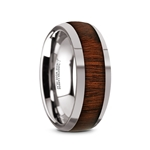 DALBERG Tungsten Carbide Rose Wood Inlay Polished Finish Men's Domed Wedding Ring - 8mm