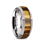 TIGRE Tungsten Carbide Polished Finish Men's Domed Wedding Band with Zebra Wood Inlay - 8mm
