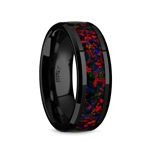 MATRIX Black Ceramic Polished Beveled Edges Men's Domed Wedding Band with Black Opal Inlay - 8mm