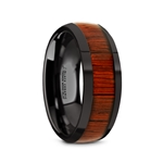 MANE Black Ceramic Polished Finish Men's Domed Wedding Band with Padauk Wood Inlay - 8mm