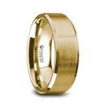 HONOR Gold Plated Tungsten Beveled Polished Edges Flat Ring with Brushed Center - 8mm