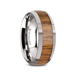 THEKKA Domed Tungsten Carbide Polished Edges Teak Wood Inlaid Men's Wedding Ring - 8mm