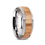CINDER Polished Edges Domed Tungsten Men's Wedding Band with Red Oak Wood Inlay - 8mm