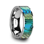 LAURANT Tungsten Men's Flat Wedding Band with Mother Of Pearl Inlay & Polished Finish - 8mm