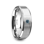 MOORE Flat Brushed Center Polished Beveled Edges Men's Tungsten Wedding Band with Blue Diamond Setting - 6mm & 8mm