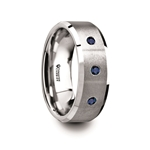 NAUTILUS Tungsten Satin Finished Center Polished Beveled Edges Men's Wedding Band with 3 Blue Sapphires -  8mm