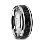 KILAUEA Men's Polished Tungsten Wedding Band with Black & Gray Lava Rock Stone Inlay & Polished Beveled Edges - 8mm