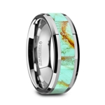 PIERRE Men's Polished Tungsten Wedding Band with Light Blue Turquoise Stone Inlay & Polished Beveled Edges - 8mm