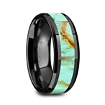 PIETRO Men's Polished Black Ceramic Wedding Band with Light Blue Turquoise Stone Inlay & Polished Beveled Edges - 8mm