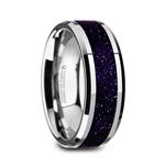 MAKI Men's Beveled Tungsten Polished Finish Wedding Ring with Purple Goldstone Inlay - 8mm