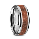 BODHI Men's Polished Finish Beveled Edges Tungsten Wedding Band with Orange Goldstone Inlay - 8mm