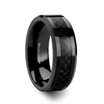 OXYN Black Titanium Polished Beveled Edges Black Carbon Fiber Inlaid Men's Wedding Band - 8mm