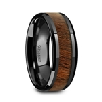 KONY Black Titanium Polished Beveled Edges Black Walnut Wood Inlaid Men's Wedding Ring - 8mm
