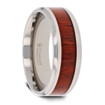 NORRO Titanium Polished Beveled Edges Padauk Wood Inlaid Men's Wedding Band - 8mm