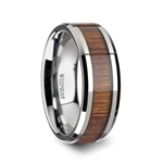 KOAN Titanium Polished Finish Koa Wood Inlaid Men's Wedding Ring with Beveled Edges - 8mm