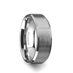 SHIRE Titanium Brushed Center Men's Flat Wedding Ring with Polished Beveled Edges - 6mm & 8mm