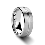 UPTON Titanium Brushed Finish Men's Wedding Ring with Polished Grooved Center - 8mm
