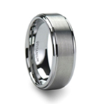 RHINOX Brushed Raised Center Men's Titanium Wedding Ring with Polished Step Edges - 6mm & 8mm