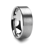 SOLAR Flat Profile Brushed Finish Men's Titanium Wedding Band - 8mm