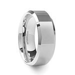 CORONAL Men's Polished Finish Beveled Edges Titanium Wedding Ring with Raised Center - 6mm & 8mm