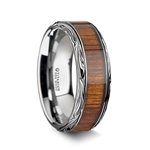 OHANA Koa Wood Inlaid Titanium Men's Wedding Ring with Intricate Edges - 8mm & 10mm