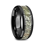 DROGON Light Green Dinosaur Bone Inlaid Black Ceramic Men's Wedding Band with Polished Beveled Edges – 8mm