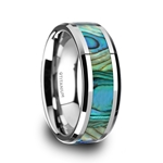 KAUI Titanium Polished Finish Mother Of Pearl Inlaid Men's Beveled Wedding Band - 8mm