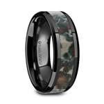 PROTOCERATOPS Black Ceramic Beveled Men's Wedding Band with Coprolite Fossil Inlay - 8mm
