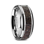 FAWN Tungsten Carbide Beveled Men's Polished Wedding Band with Dark Antler Inlay - 8mm