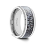 BUCK Polished Beveled Tungsten Carbide Men's Wedding Band with Ombre Deer Antler Inlay - 8mm