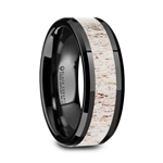 STAG Black Ceramic Beveled Men's Wedding Band with Off White Antler Inlay - 8mm