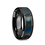 IRIDESCENCE Black Ceramic Spectrolite Inlay Polished Finish Wedding Band with Beveled Edges - 8mm