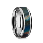 ESSENCE Beveled Tungsten Carbide Wedding Ring with Spectrolite Inlay Polished Finish - 8mm