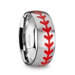 DIMAGGIO Titanium Brushed Finish Ring with Red Baseball Stitching Pattern - 8mm