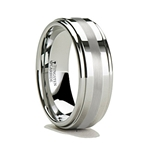 ODIN Raised Center Tungsten Carbide Ring with  Platinum Inlay