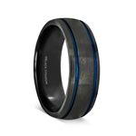 SHERIFF Black Titanium Brushed Finish Men's Wedding Ring with Blue Grooves – 8mm
