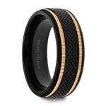 BAROQUE Black Titanium Diamond Pattern Brushed Finish Men's Wedding Ring with Gold Milgrain Grooves– 8mm