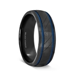 PATROL Black Titanium Carved Diagonal Pattern Brushed Finish Men's Wedding Ring with Blue Milgrain Grooves – 8mm