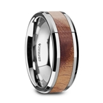 BELDI Olive Wood Inlaid Tungsten Carbide Ring with Bevels - 8mm