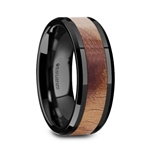 LUGANO Olive Wood Inlaid Black Ceramic Ring with Bevels - 8mm