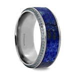 HYDRA Lapis Lazuli Inlaid Titanium Wedding Ring Polished Beveled Edges Set with Round Blue Diamonds - 10 mm