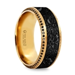 HYPERION Lava Inlaid 10K Yellow Gold Wedding Ring Polished Beveled Edges Set with Round Black Diamonds - 10 mm