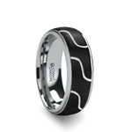 FUSION Cobalt Chrome Ring with Wavy Design Center and Polished Edges - 8 mm